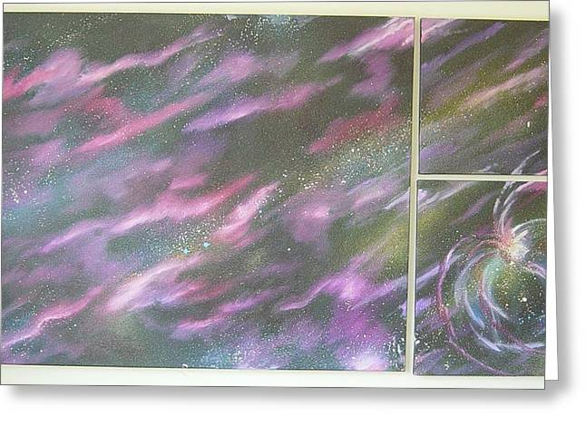Nebula II Triptych Greeting Card by Mark Golomb