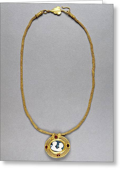 Necklace With Cameo Pendant Unknown Roman Empire 250 - 400 Greeting Card by Litz Collection