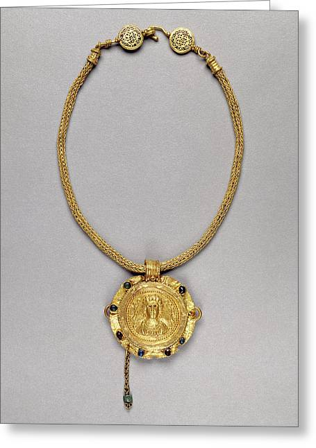 Necklace With Pendant Unknown Roman Empire 250 - 400 Gold Greeting Card by Litz Collection