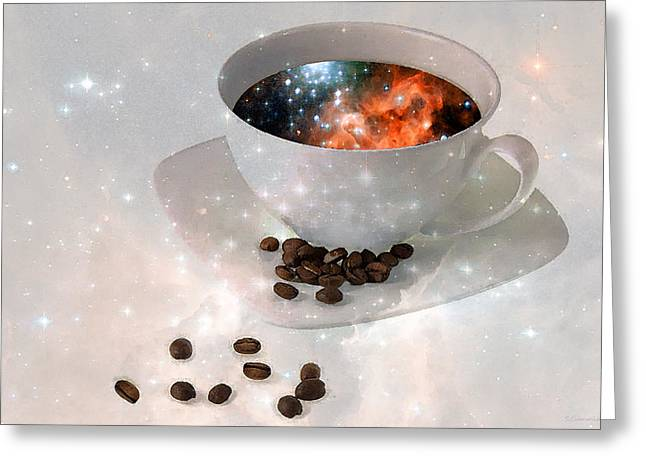 Nectar From Heaven - Coffee Art By Sharon Cummings Greeting Card by Sharon Cummings