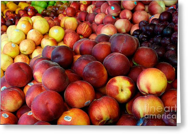 Greeting Card featuring the photograph Nectarines At Rest by Vinnie Oakes