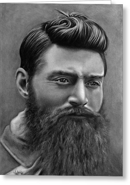 Ned Kelly Portrait Drawing Greeting Card by John Harding