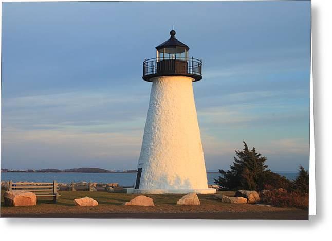 Ned's Point Lighthouse Mattapoisett Massachusetts Greeting Card by John Burk