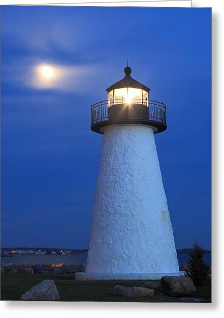 Neds Point Lighthouse Moon Mattapoisett Massachusetts Greeting Card by John Burk