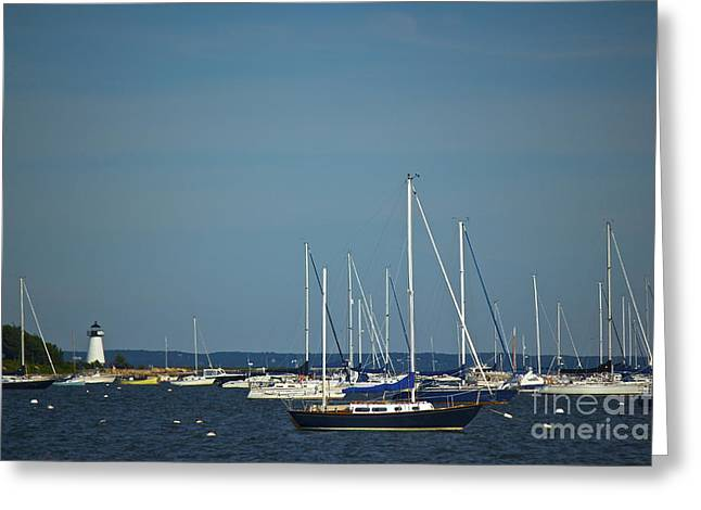 Ned's Point Lighthouse With Sailboats Greeting Card by Amazing Jules