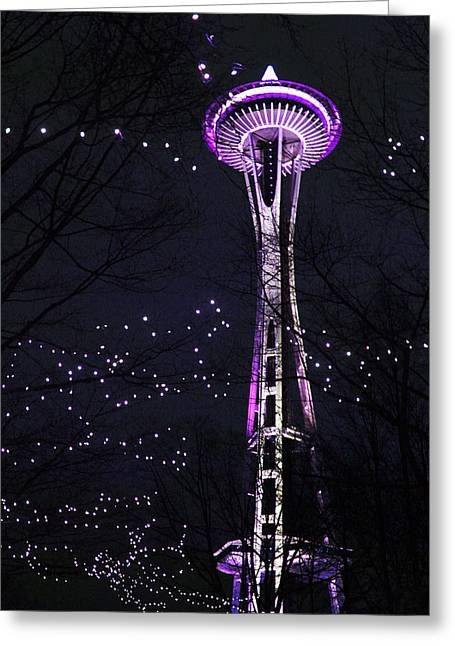 Needle In Purple Greeting Card by Sonya Lang