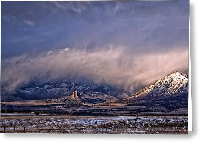Needle Rock Winters Glow Greeting Card by Eric Rundle