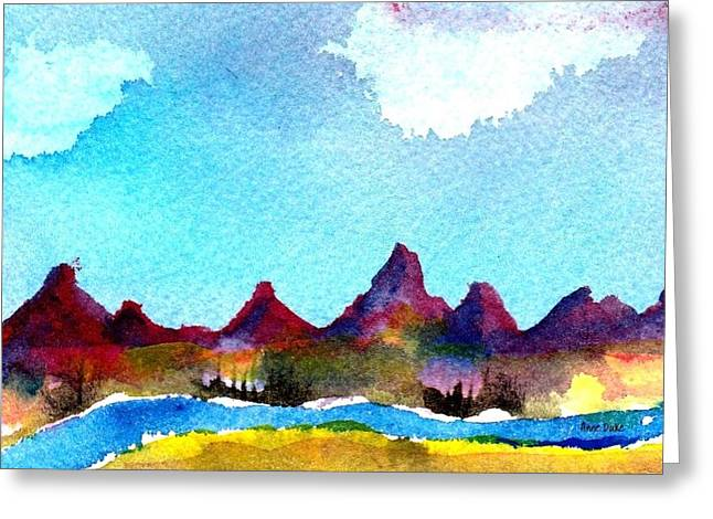 Greeting Card featuring the painting Needles Mountains by Anne Duke