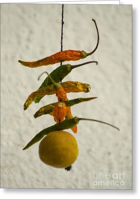 Neembu Mirch  Lemon N Chillies Greeting Card by Vineesh Edakkara
