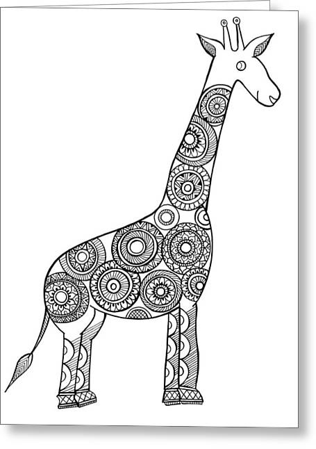 Neeti Animal Giraffe Greeting Card by Neeti Goswami