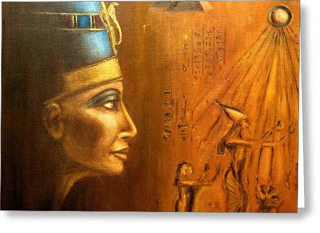 Greeting Card featuring the painting Nefertiti by Arturas Slapsys