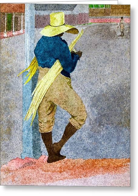 Negro Man Stripping Cane Jamaica Greeting Card by William Berryman
