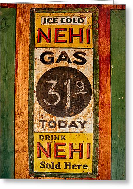 Nehi And Gas Sold Here Greeting Card by Priscilla Burgers