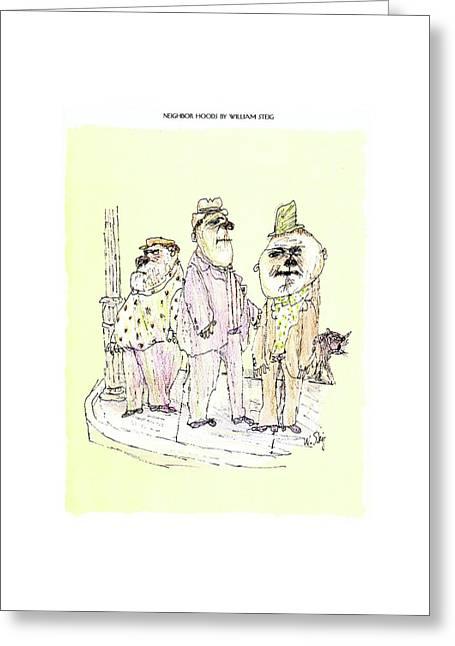 Neighbor Hoods By William Steig Greeting Card by William Steig