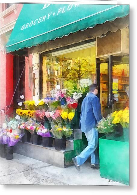 Neighborhood Flower Shop Greeting Card by Susan Savad
