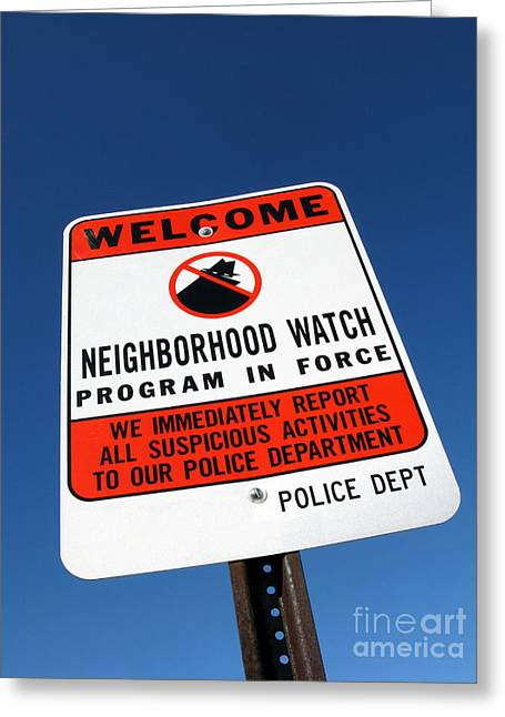 Neighborhood Watch Greeting Card by Olivier Le Queinec