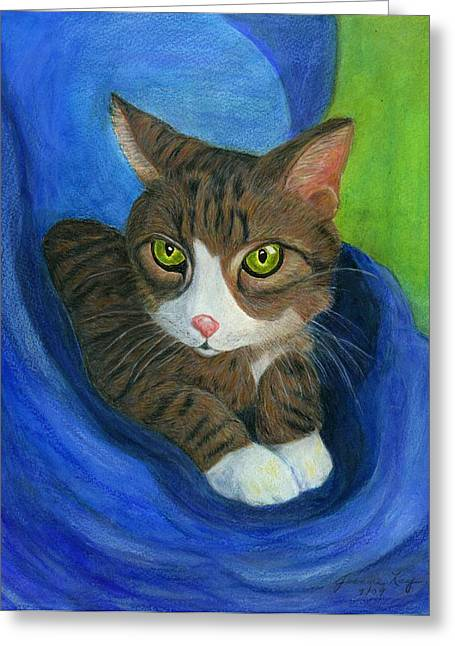 Greeting Card featuring the painting Neighbor's Cat In Stroller by Jeanne Kay Juhos