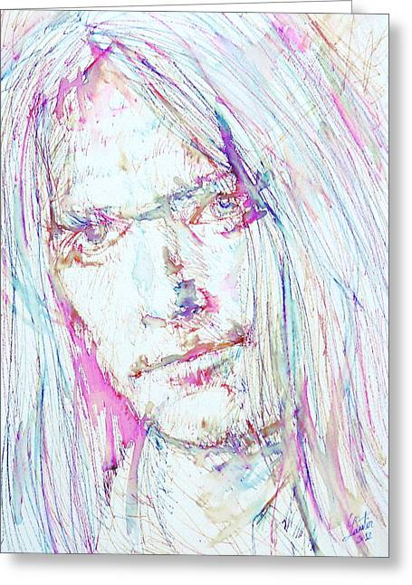 Neil Young - Colored Pens Portrait Greeting Card by Fabrizio Cassetta