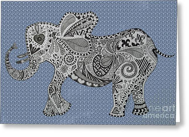 Nelly The Elephant Blue Bubbles Greeting Card