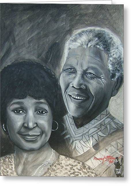 Nelson And Winnie Greeting Card by Howard Stroman