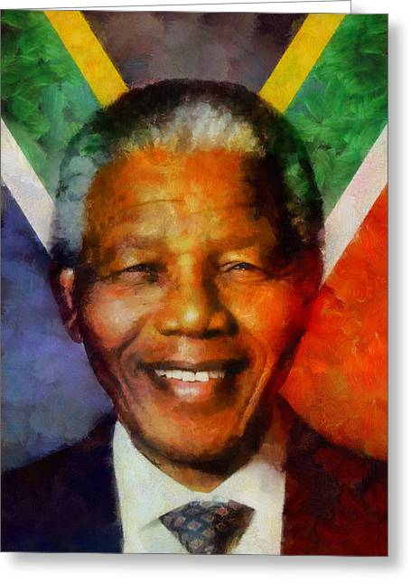 Greeting Card featuring the digital art Nelson Mandela 1918-2013 by Kai Saarto