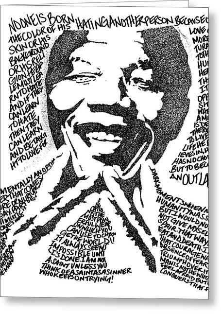 Nelson Mandela Greeting Card by Carlos Santana Trott