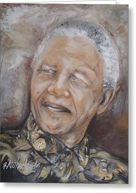 Nelson Mandela Greeting Card by Grant Netherlands