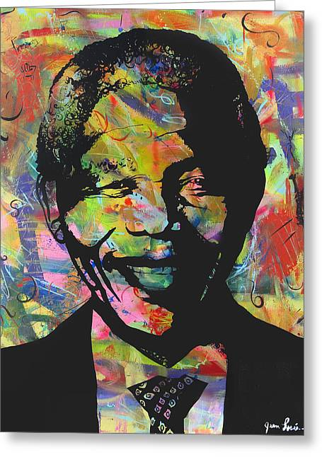 Nelson Mandela Greeting Card by Jean P Losier