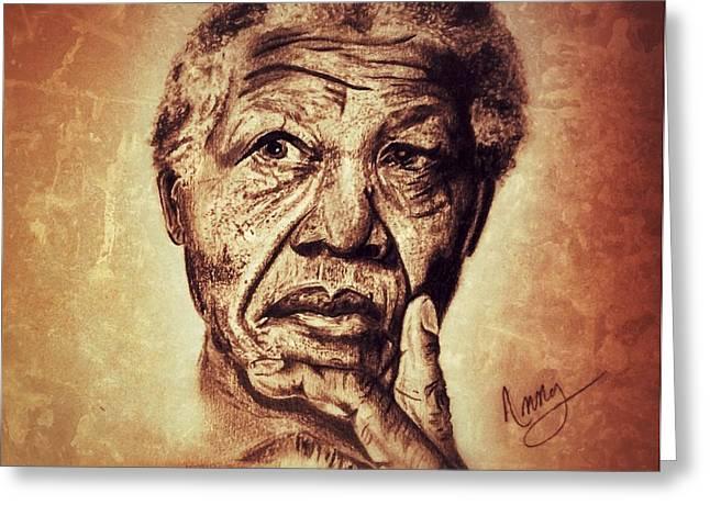 Nelson Mandela  Greeting Card by Leanne Lewis