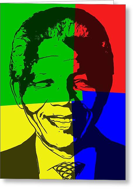 Nelson Mandela Pop Art Greeting Card by Dan Sproul