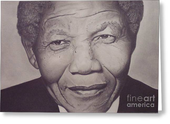 Nelson Mandela Greeting Card by Wil Golden