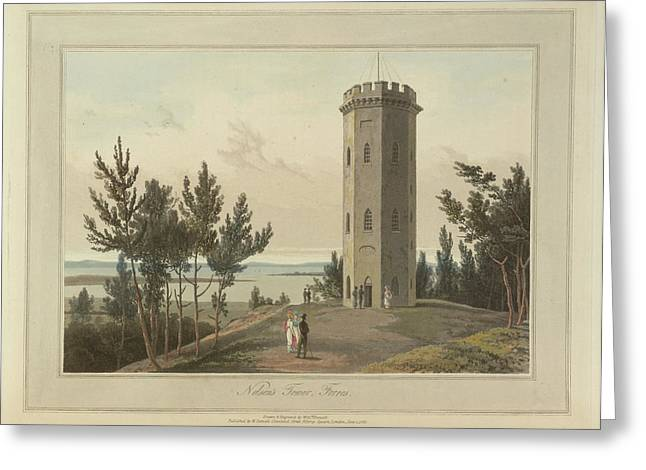 Nelson's Tower At Forres Greeting Card by British Library