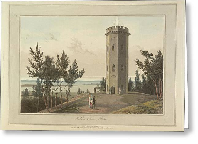Nelson's Tower At Forres Town Greeting Card by British Library