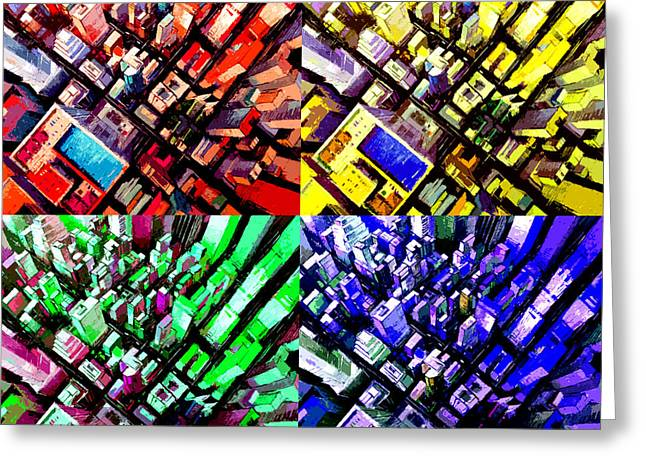 Neo Pop Art Urbanscape New York Sky View Greeting Card