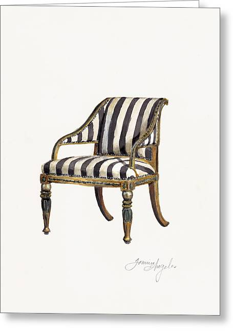 Neoclassical Armchair Greeting Card by Jazmin Angeles