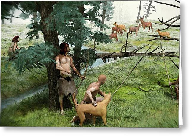 Neolithic Hunting Greeting Card