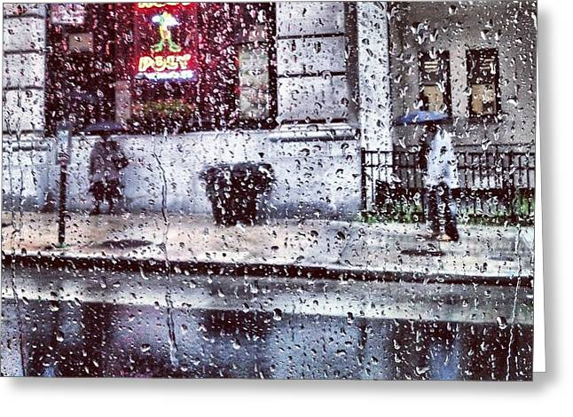 Neon And Rain Greeting Card by Toni Martsoukos