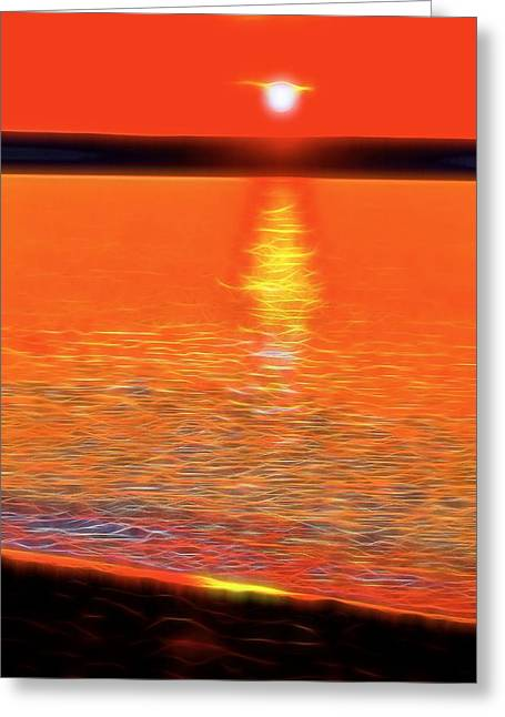 Neon Beach Sunset Greeting Card by Dan Sproul