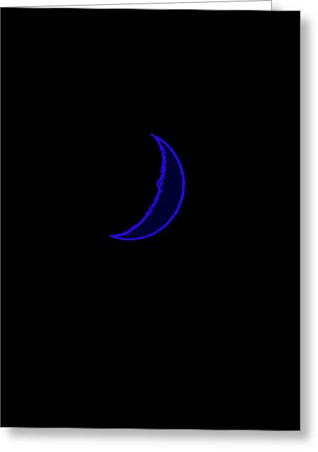 Neon Blue Moon Greeting Card