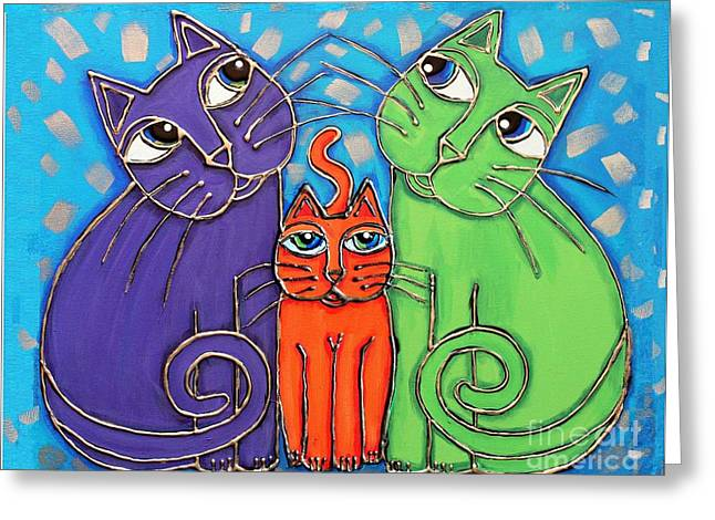 Neon Cat Trio #1 Greeting Card by Cynthia Snyder