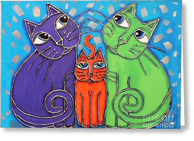 Neon Cat Trio #1 Greeting Card