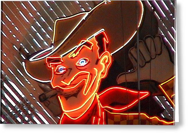 Neon Cowboy Of  Las Vegas Greeting Card