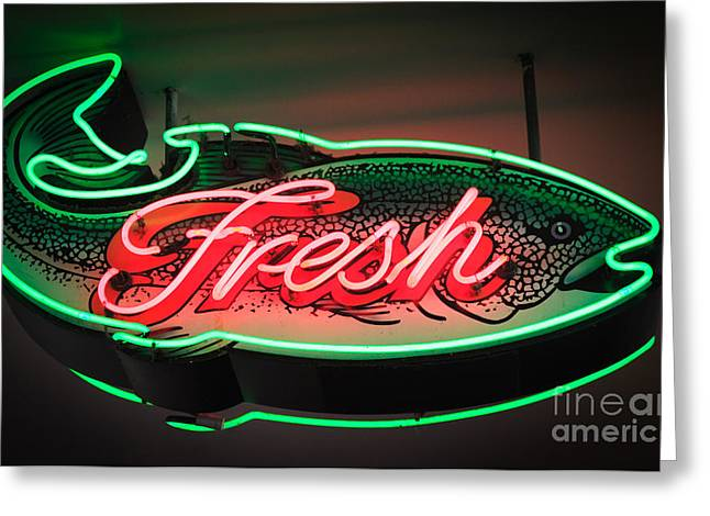 Neon Fish Greeting Card by Inge Johnsson