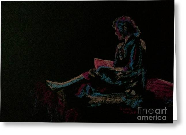 Neon Girl With Book Greeting Card by Diane Phelps
