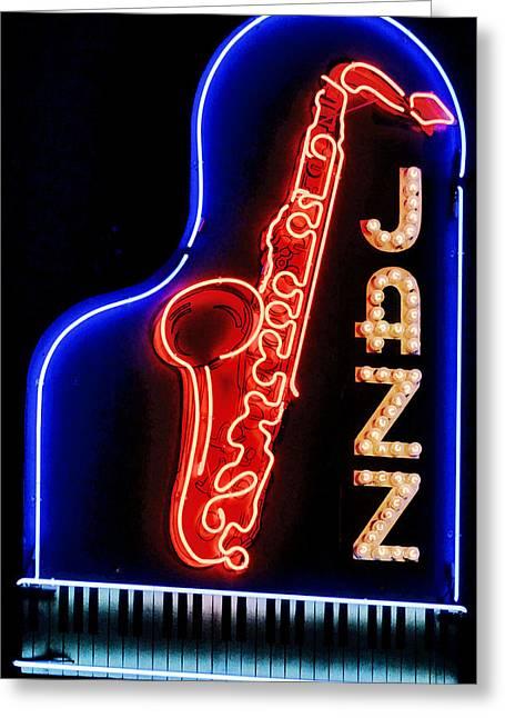 Neon Jazz Greeting Card by Nadalyn Larsen