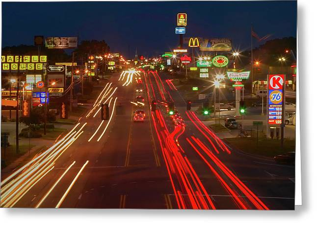 Neon Lights Along Highway 22 In Central Greeting Card