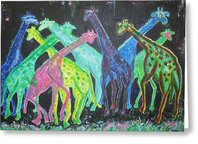 Greeting Card featuring the painting Neon Longnecks by Diane Pape