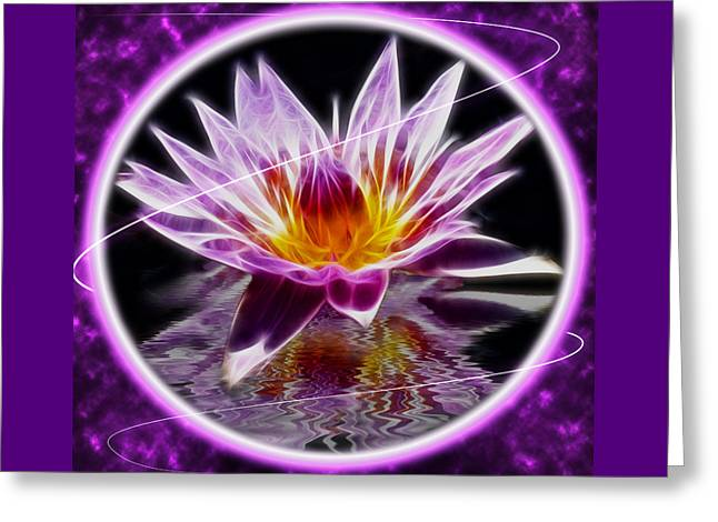 Neon Lotus Greeting Card by Shane Bechler