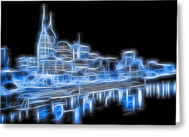 Neon Nashville Skyline Greeting Card by Dan Sproul