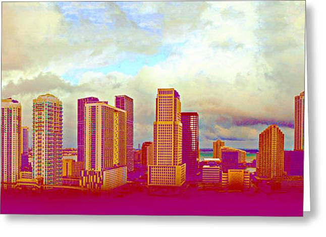 Neon Panorama 1 Greeting Card by Michael Guirguis